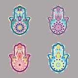 L'ensemble de hamsa d'isolement coloré remet des illustrations Photos libres de droits