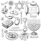 L'ensemble de Hanoucca heureux a conçu des éléments illustration de vecteur