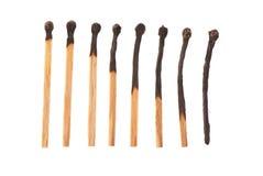 L'ensemble de huit a brûlé les matchs en bois disposés dans l'ordre croissant Photos stock