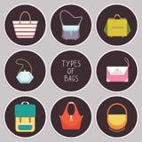 L'ensemble de huit icônes plates simples de sac à main différent dactylographie - dirigez l'illustration Image libre de droits