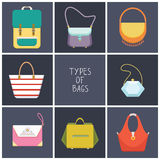 L'ensemble de huit icônes plates simples de sac à main différent dactylographie - dirigez l'illustration Photographie stock libre de droits