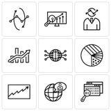 L'ensemble de 9 icônes editable simples telles que des données recherchent, utilisateur global, l'analytics de données, graphique Image stock