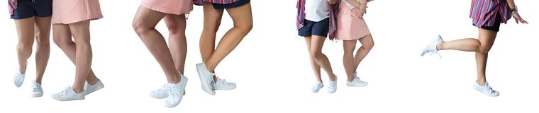 L'ensemble de jambes femelles sur le blanc a isolé le fond Photos libres de droits