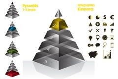 L'ensemble de jaune de diagrammes symétriques isometry de pyramide, diagram 5 niveaux avec la texture en verre Infographics d'élé Images stock