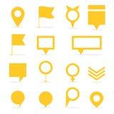 L'ensemble de jaune a isolé des indicateurs et formes de marqueurs de différentes illustration de vecteur