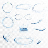 L'ensemble de l'eau transparente éclabousse, des cercles, des tourbillons, des baisses et couronne de la chute dans l'eau dans de illustration stock