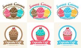 L'ensemble de label doux d'insigne de boulangerie de petit gâteau et le logo conçoivent Image stock