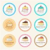 L'ensemble de label doux d'insigne de boulangerie et le logo conçoivent Photographie stock libre de droits