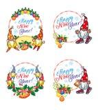L'ensemble de labels de nouvelle année avec des gnomes drôles et la salutation textotent la bonne année de ` ! ` illustration libre de droits