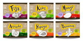 L'ensemble de labels tirés par la main de nourriture, épice des labels, labels de fruit, vege Images libres de droits