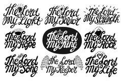 L'ensemble de lettrage de 9 mains cite le seigneur est mon sauveur, roi, lumière, chanson, espoir, sauveur, Streght, roche, la vi illustration libre de droits