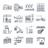 L'ensemble de ligne mince icônes aèrent, mer, terminal de fret ferroviaire illustration stock