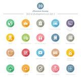 L'ensemble de longues icônes rondes de l'ombre SEO et du développement a placé 3 Photo stock