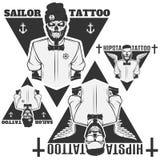 L'ensemble de maîtres squelettiques de tatoueur, le marin et le hippie tatouent le salon Photographie stock