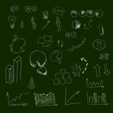 L'ensemble de main noient des icônes, sur le tableau, pour créer des concepts d'affaires et illustrer des idées illustration libre de droits