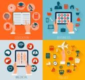 L'ensemble de milieux plats de conception pour l'éducation, affaires, voyagent a illustration de vecteur