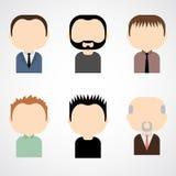 L'ensemble de mâle coloré fait face à des icônes. Image stock