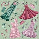 L'ensemble de mode de femmes vêtx des accessoires d'american national standard illustration libre de droits