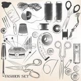 L'ensemble de mode de vecteur a haut détaillé les accessoires de couture Images stock
