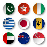 L'ensemble de monde diminue autour des insignes Pakistan Hon Kong La Côte d'Ivoire La Grèce japan barbados Émirats arabes unis Qu Photos stock