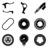 L'ensemble de moto partie des icônes Vecteur de silhouette illustration libre de droits
