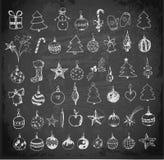 L'ensemble de Noël de croquis et de nouvelle année objecte Image stock