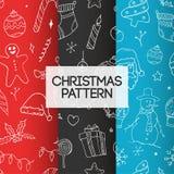 L'ensemble de Noël gribouille le modèle sans couture illustration libre de droits