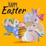 L'ensemble de panier de lapin de chasse à oeufs de chocolat de Pâques sur l'herbe verte a décoré des fleurs, oreilles drôles de l Photos libres de droits