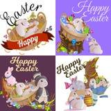 L'ensemble de panier de lapin de chasse à oeufs de chocolat de Pâques sur l'herbe verte a décoré des fleurs, oreilles drôles de l illustration libre de droits