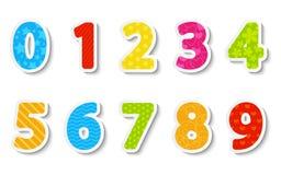 Ensemble de nombres de papier de couleur Photo libre de droits
