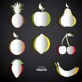 L'ensemble de papier de fruit coupé - mélangez l'illustration de carte de conception Images libres de droits
