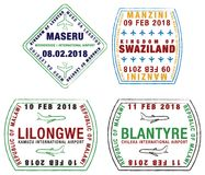 L'ensemble de passeport stylisé emboutit pour des aéroports de l'Afrique illustration stock