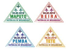 L'ensemble de passeport stylisé emboutit pour les aéroports importants de la Mozambique illustration libre de droits