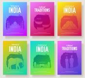 L'ensemble de pays culturel d'Inde et les points de repère ornementent le concept d'illustration Art traditionnel, livre, affiche illustration stock
