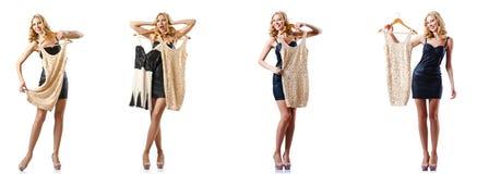 L'ensemble de photos avec la femme essayant le nouvel habillement Image stock