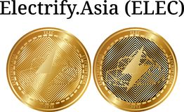 L'ensemble de pièce de monnaie d'or physique électrifient L'Asie (ÉLECTR.) illustration de vecteur