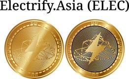 L'ensemble de pièce de monnaie d'or physique électrifient L'Asie ÉLECTR. Images libres de droits
