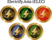 L'ensemble de pièce de monnaie d'or physique électrifient L'Asie ÉLECTR. Photo libre de droits