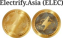 L'ensemble de pièce de monnaie d'or physique électrifient L'Asie ÉLECTR. Photographie stock libre de droits