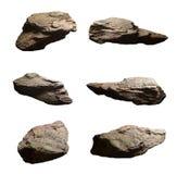 L'ensemble de pierres de falaise a isolé le fond blanc Image libre de droits