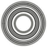 L'ensemble de pneu noir et blanc dépiste autour des cadres Photographie stock