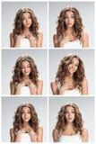L'ensemble de portraites femelles avec l'expression du visage choquée image libre de droits