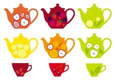 Pots et tasses de thé avec des fruits, vecteur Image stock