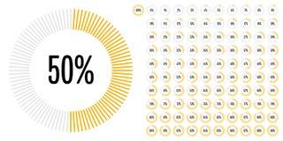 L'ensemble de pourcentage de cercle diagrams de 0 à 100 Illustration de Vecteur