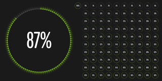 L'ensemble de pourcentage de cercle diagrams de 0 à 100 Images stock
