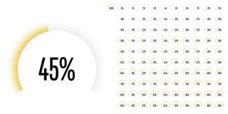 L'ensemble de pourcentage de secteur circulaire diagrams de 0 à 100 Photographie stock libre de droits