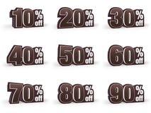 L'ensemble de prix discount signe dedans le regard brun de costume Photographie stock