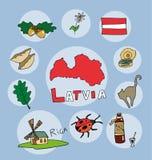 L'ensemble de profil national de l'état Espagne Lettonie illustration de vecteur