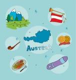 L'ensemble de profil national de l'Autriche illustration de vecteur