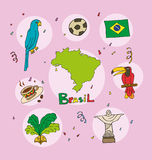 L'ensemble de profil national du Brésil illustration libre de droits